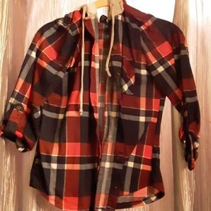 Rue 21 flannel 3/4 sleeve  button up hoodie